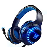 Pacrate PC Gaming Headset für PS4 Xbox One PS5, PS4 Headset mit Mikrofon & LED Lichter, PS4 Gamer...