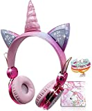 Einhorn Bluetooth kopfhörer Kinder, Kabellos Kinderkopfhörer Over-Ear mit 85dB Lautstärke...