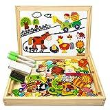 COOLJOY Magnetisches Holzpuzzle mit Doppelseitiger Tafel, Holzspielzeug Puzzles Kinder 3 Jahre,...