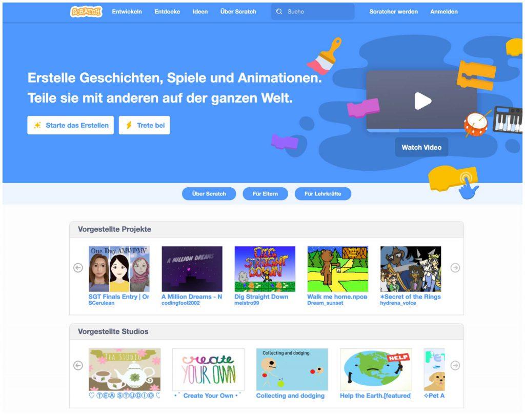 Screenshot der Scratch Website